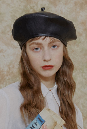 A ARTIFICIAL LEATHER BERET_BLACK