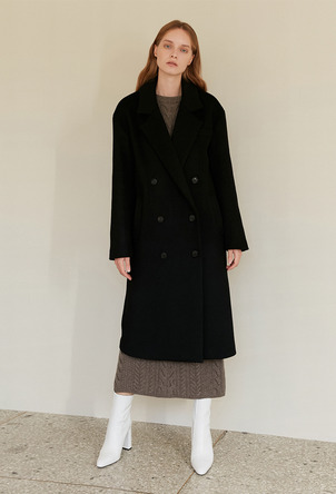 A WOOL DOUBLE BUTTON CT_BLACK