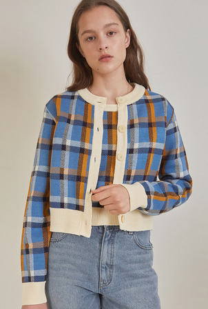 A CHECK JACQUARD KNIT SET_BLUE