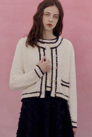 A FEATHER LINE KNIT SET_WHITE