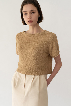 A POPCORN BOAT NECK KNIT [3colors]