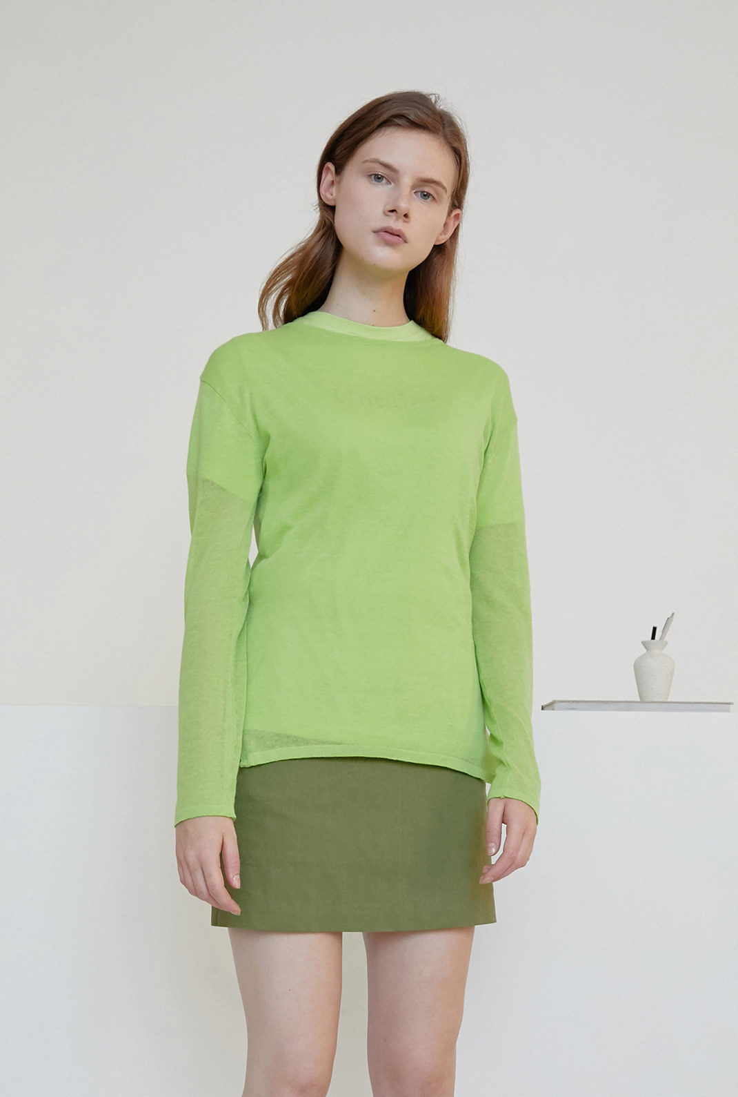 A SEE-THROUGH KNIT_YELLOWISH GREEN