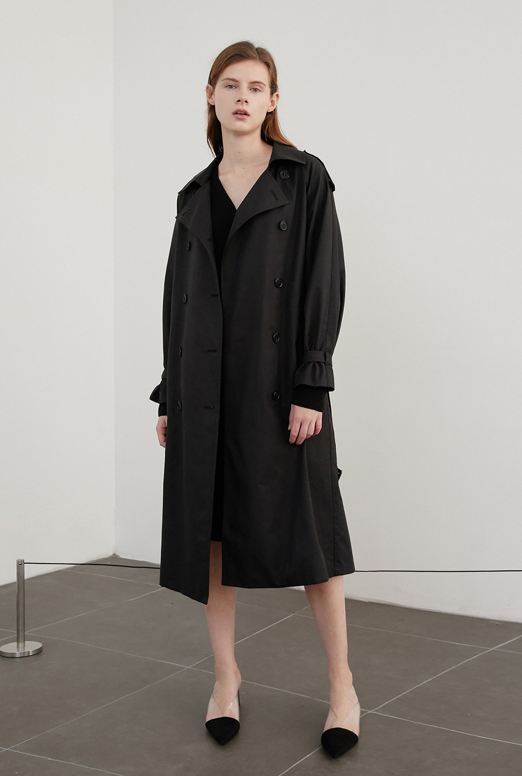 A COTTON TWILL TRENCH CT_BLACK