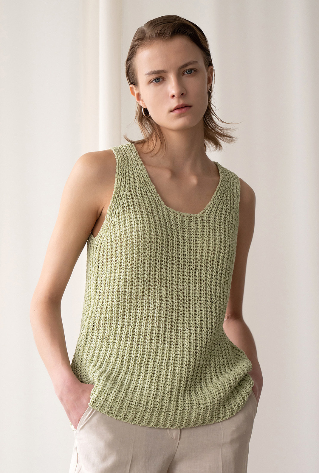 A TAPE KNIT VEST_YELLOWISH GREEN
