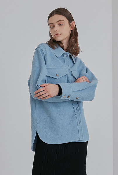 A WOOL SHIRT JK_SKY BLUE