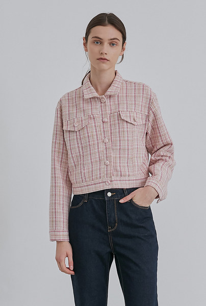 CHECKED SHORT JK_PINK