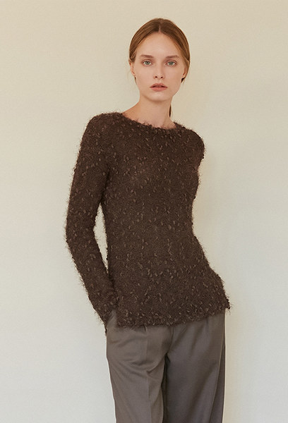 A FEATHER KNIT TOP_BROWN