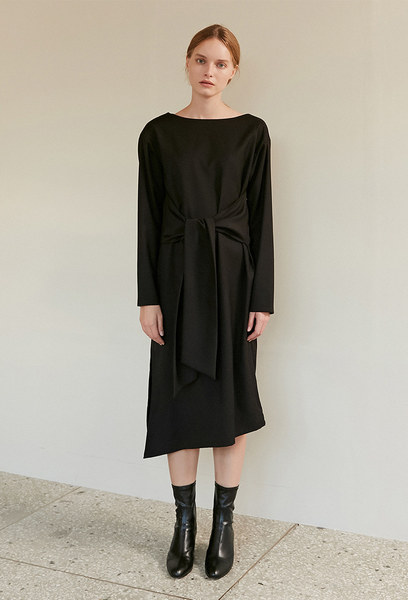 A SIDE TIE DRESS_BLACK