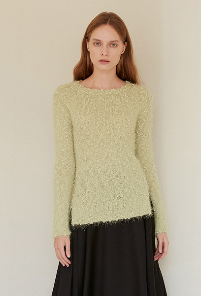 A FEATHER KNIT TOP_YELLOWISH GREEN