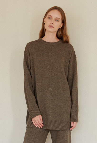 A MELANGE KNIT TOP_BROWN