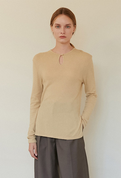 A BUTTON KNIT TOP_BEIGE