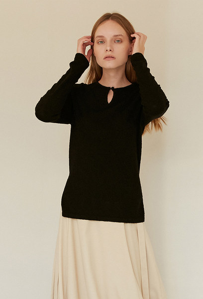 A BUTTON KNIT TOP_BLACK