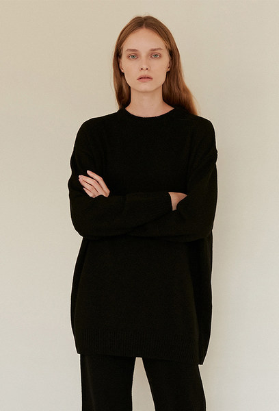 A MELANGE KNIT TOP_BLACK