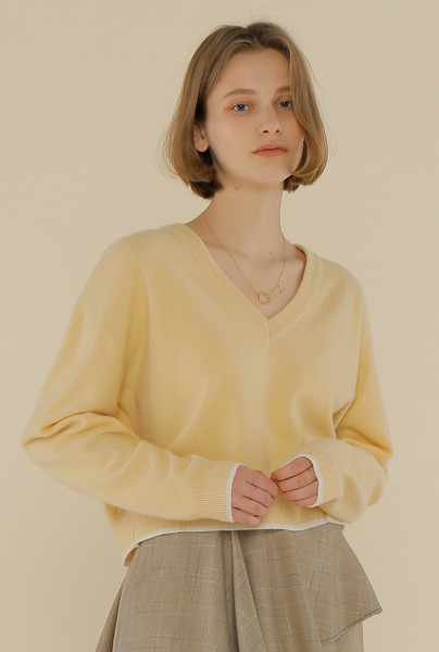 A COLOR LINE KNIT TOP_YELLOW