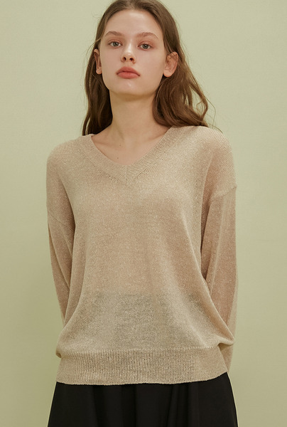 A MELANGE KNIT TOP_BEIGE