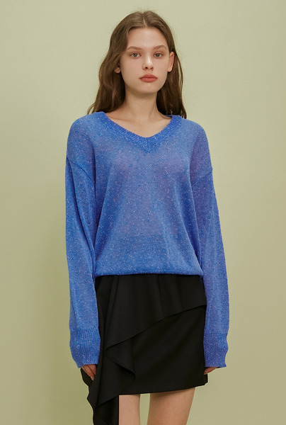 A MELANGE KNIT TOP_BLUE