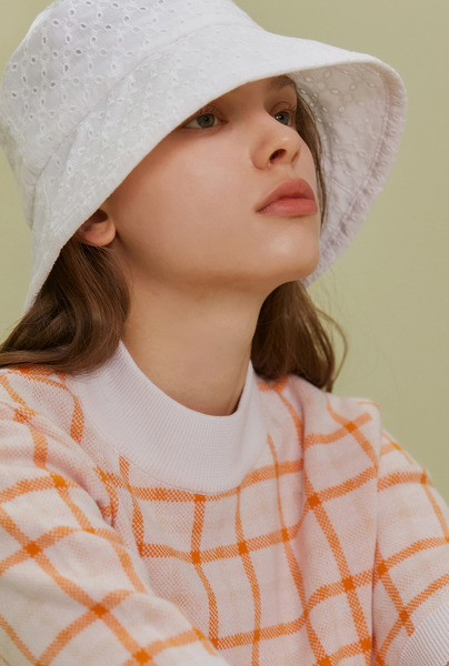 A LACE SHIRRING HAT_WHITE