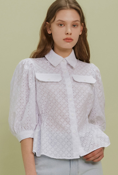 A LACE SHIRRING ST_WHITE