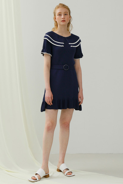 A WIDE COLLAR KNIT DR_NAVY
