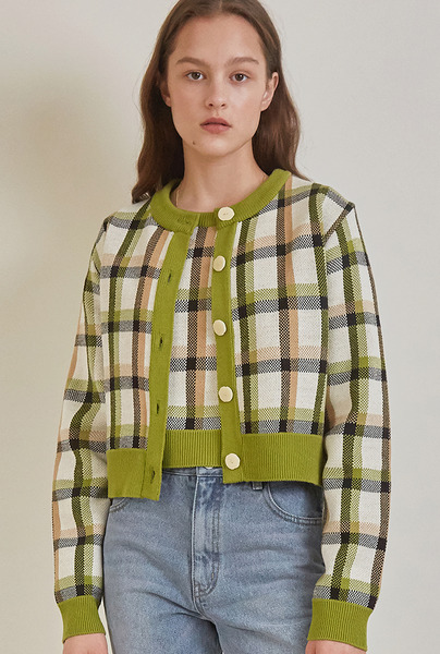 A CHECK JACQUARD KNIT SET_GREEN