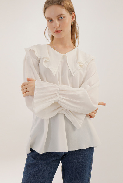 A WIDE RUFFLE COLLAR BL [2 colors]