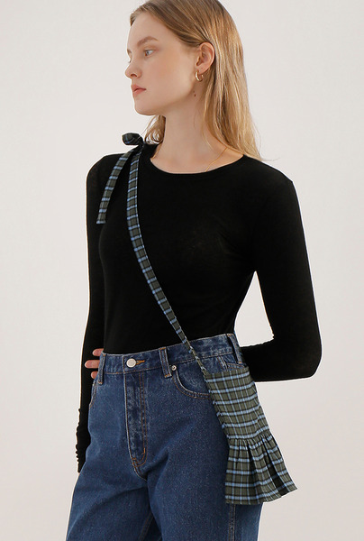 A CHECK FRILL BAG [2 colors]