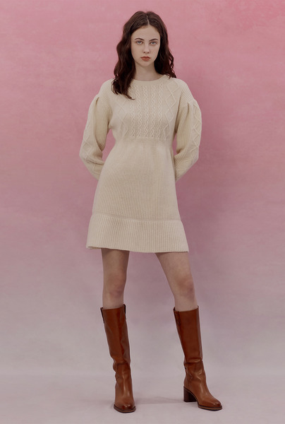 A CABLE TIE KNIT DR [2 colors]